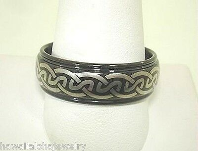 8Mm Black Tungsten Carbide Celtic Knot Pattern Ring 9.0-13.0