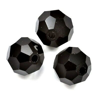 Jet Black Faceted Round Crystal Glass Beads 4mm 6mm 8mm 10mm 12mm