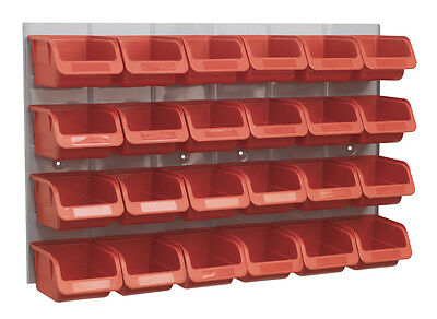 NEW 24 Sealey Parts Storage Box/Bins + Panel For Garage/Workshop/Shed RED TPS130