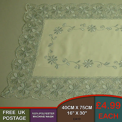 Light Blue Embroidered Table Runner Sideboard with Lace Edge Trim CA10