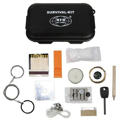 Survival-Set Kit Notfall Überlebens-Box SOS Outdoor wasserdicht Kompass Angelset