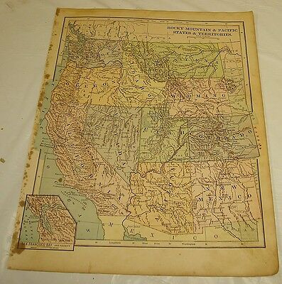 1899 Maury COLOR MAP/ROCKY MT. & PACIFIC STATES/WA,OR,CA,ID,NV,MT,WY,UT,CO,AZ,NM