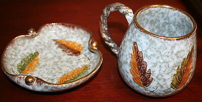 very nice BOWL & CUP SET clay Made ITALY grayish with leaves with gold trim T59