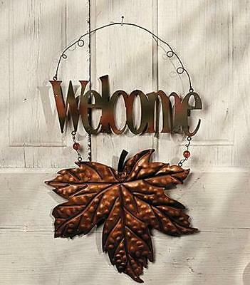 "Metal Fall Leaf ""WELCOME"" Sign with Embossed Leaf"
