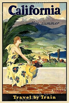 1934 California This Summer Travel by Train Vintage Travel Poster - 24x36