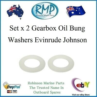 A Brand New Set x 2 Gearbox Oil Bung Washers Evinrude Johnson # R