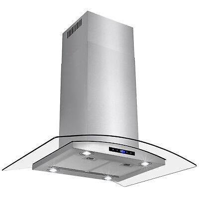 """36"""" Euro Style Touch Control Stainless Steel Glass Island Range Hood"""