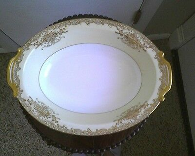 Vintage Noritake Handpainted Yellow And White Serving Bowl With Gold Trim