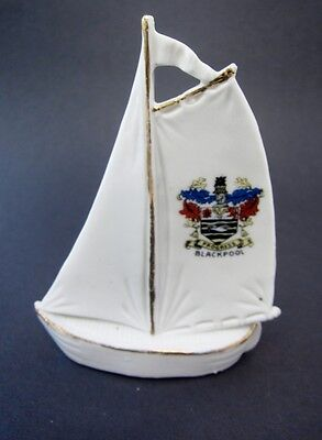 Antique English England Crestware SAILBOAT Boat Blackpool #3482 Excellent