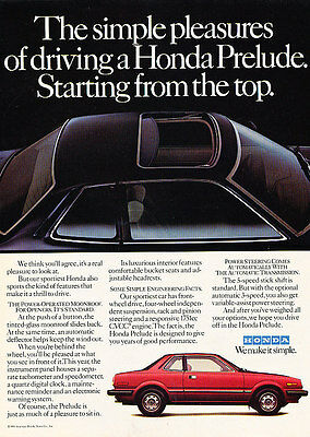 1981 Honda Prelude Red Coupe - Classic Vintage Advertisement Ad D18