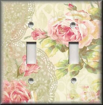 Metal Light Switch Plate Cover - Shabby Chic Decor Pink Roses Lace Background