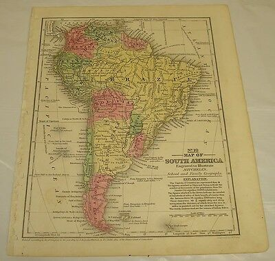 1839 Mitchell's Antique Color Map of SOUTH AMERICA