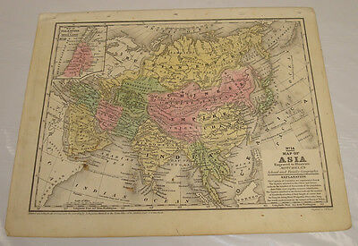 1839 Mitchell's Antique Color Map of ASIA
