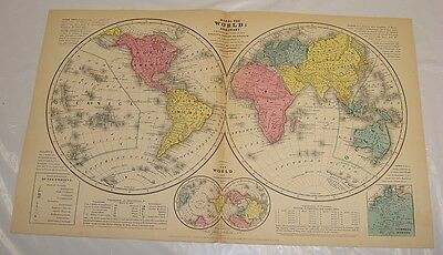 "1854 Smith's Antique Color Map of WORLD (With a ""Ton"" of Additional Information)"