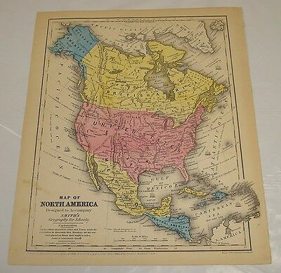 1854 Smith's Antique Color Map of NORTH AMERICA/shows Gadsden Purchase