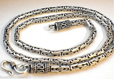 "3Mm-6.5Mm Variety Oxidized Sterling Silver Bali Byzantine Chain Necklace 16""-24"""
