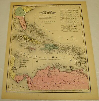 1854 Smith's Antique Color Map of WEST INDIES