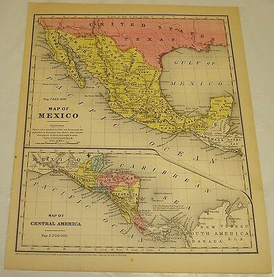 1854 Smith's Antique Color Map of MEXICO & CENTRAL AMERICA