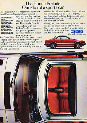 1980 Honda Prelude - Top - Classic Vintage Advertisement Ad D29