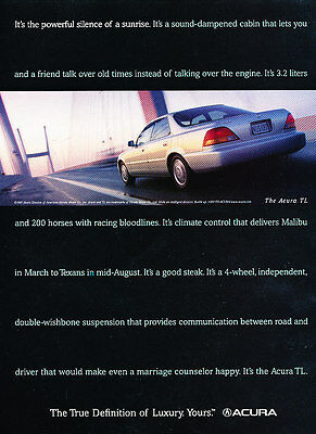 1998 Acura TL Sedan - black - Classic Vintage Advertisement Ad H02