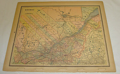 1895 Gaskell Atlas Antique Color Map of QUEBEC, b/w ONTARIO
