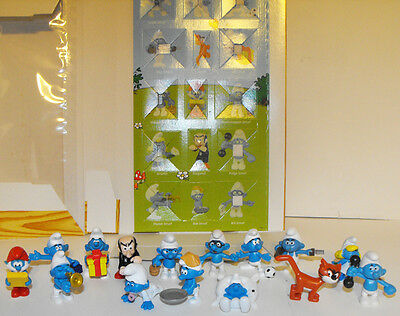 Set of 15 Albert Hein Smurfs with Display Box Lot SMURF Plastic Figurines Figure