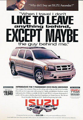 2003 Isuzu Ascender - Except - Classic Vintage Advertisement Ad D32