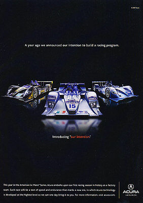 2007 Acura Racing - Intention - Classic Vintage Advertisement Ad D36