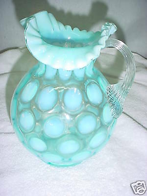 B26-Fenton RARE Blue Opalescent Coin Dot Optic Pitcher