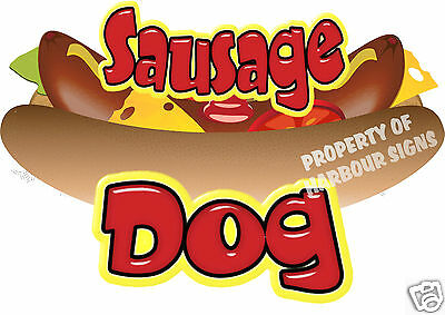 "Sausage Dog Decal 18"" Hot Dog Cart Concession Food Truck Van Stand Vinyl Sticker"