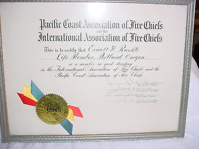 Cb- 1951 Fire Chiefs Association Certification