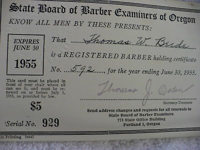 Eh-  State Board Of Barber Examiners Of Oregon 1955