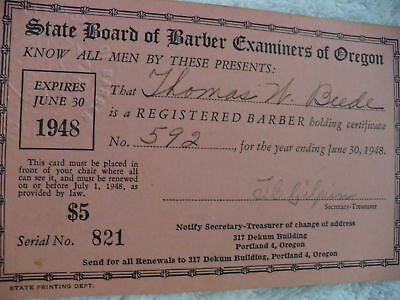 Eh-  State Board Of Barber Examiners Of Oregon 1948