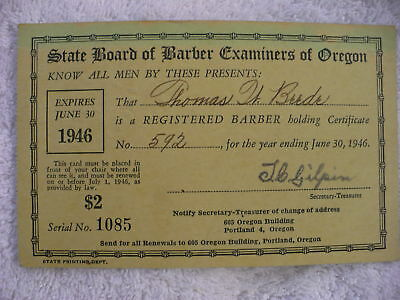 Eh-  State Board Of Barber Examiners Of Oregon 1946