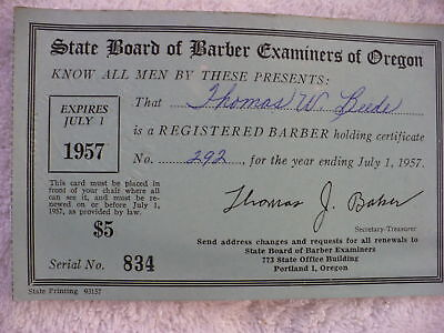 Eh-  State Board Of Barber Examiners Of Oregon 1957