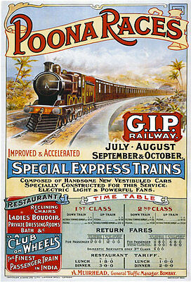 TR64 Vintage Poona Races British India GIP Railway Poster Re-Print A4