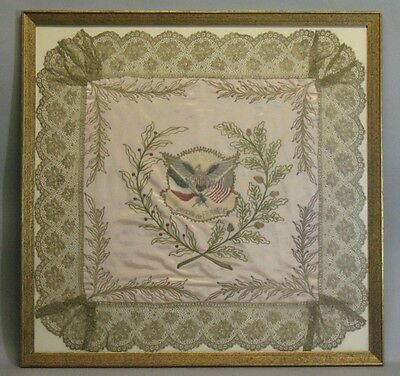 "Large WWI French ""Souvenir de France"" Silk Needlework Textile  c. 1915"