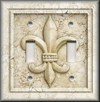 Light Switch Plate Cover - French Fleur De Lis Aged Stone Image Cream Home Decor