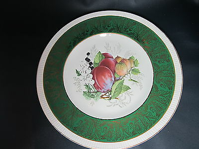 SIMPSONS POTTERS - Dark Green Band Gold Filigree Center Fruits- DINNER PLATE 41F