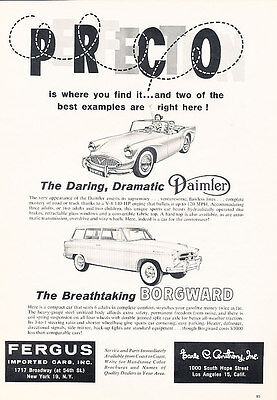 1960 Daimler SP250 and Borgward - Classic Vintage Advertisement Ad H04