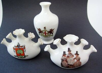 Antique Crestware 3pc Lot Gemma Welsh Costume,LONDON vase, Colwyn Crest Model