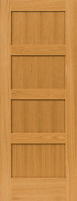 4 Panel Flat Mission Shaker Red Oak Stain Grade Solid Core Interior Wood Doors