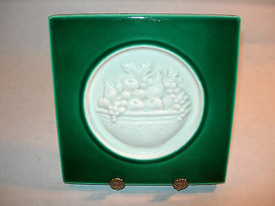 ~ Gorgeous Vintage Green And White Porcelain Decorative Fruit Bowl Tile Nice ~