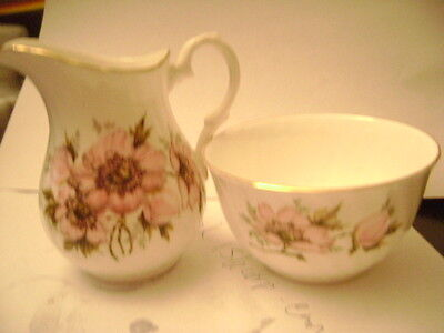 Crown Staffordshire Sugar Bowl and Creamer Floral Pattern