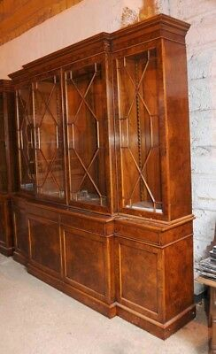 Walnut Victorian Breakfront Bookcase Chippendale Bookcases English Furniture