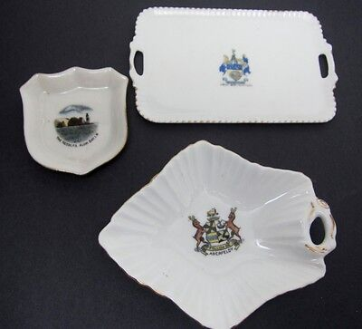 Antique Crestware Porcelain Crest 3pc TRAY Lot Exc Aberfeldy Albion,New Brighton