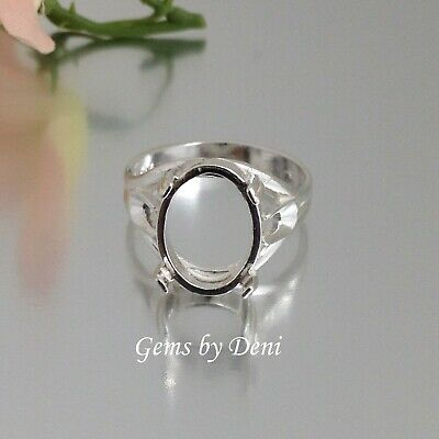(12x10-16x12mm) Oval Cabochon Sterling Silver Side-Deco Ring Setting Size 7 - 11