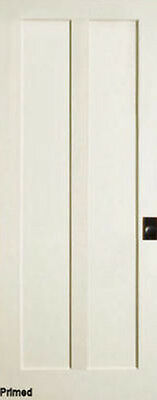 2 Panel Flat Vertical Primed Mission Shaker Stile & Rail Solid Core Wood Doors