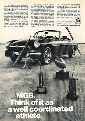 1974 MG MGB - Trophies - Classic Vintage Advertisement Ad D55