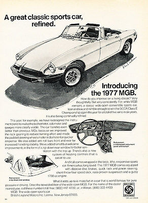 1977 MG MGB - Refined - Classic Vintage Advertisement Ad D47